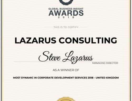 "LAZARUS CONSULTING NAMED ""MOST DYNAMIC IN CORPORATE DEVELOPMENT SERVICES""​ BY GLOBAL BUSINESS INSIGHT"